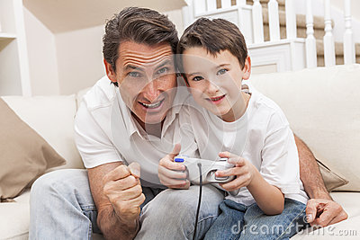 Man Boy Father Son Playing Computer Video Console Game