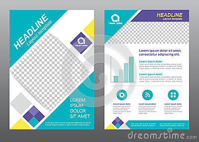 Layout flyer template size A4 cover page diamond square blue purple yellow tone Vector design