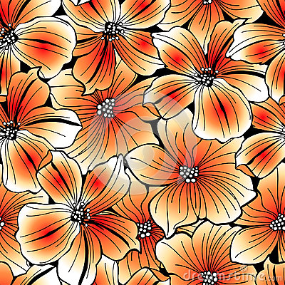 Bright orange graphic hibiscus seamless pattern