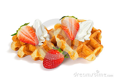 Strawberry Belgian Waffles with Whipped Cream