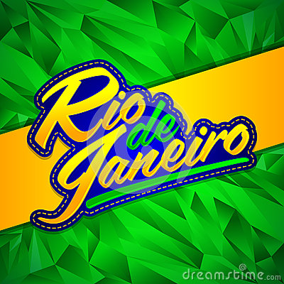Rio de Janeiro vector lettering design with Brazilian flag colors and fractal background