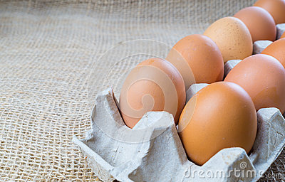 Chicken eggs in box