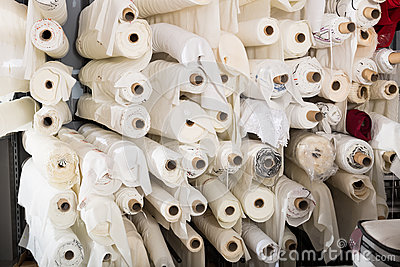 Cloth rolls  in textile store
