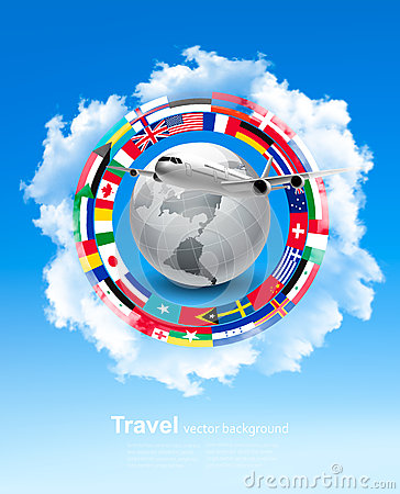 Travel background. Globe with a plane and a circle of flags