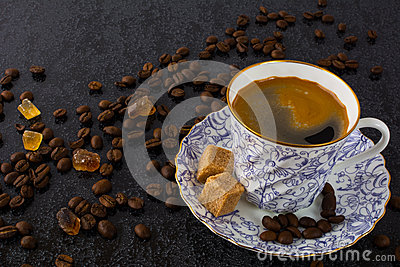 China cup of coffee on black background