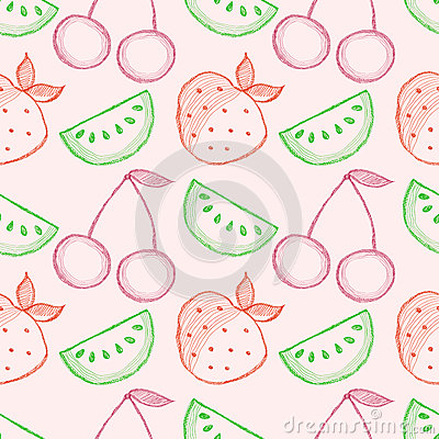 Seamless vector pattern with hand drawn fruits. Colorful Background with watermelons, srawberries and cherries.