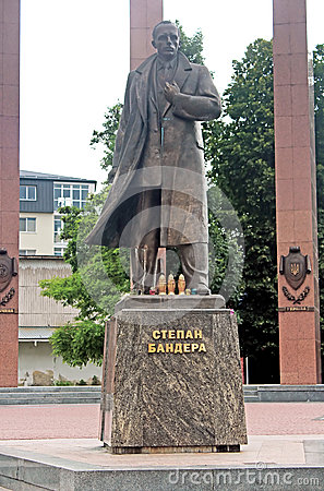Monument to the leader of the Ukrainian nationalist and independence movement Stepan Bandera