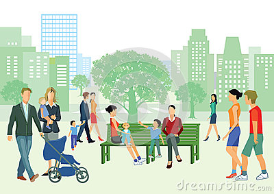 stock image of families in urban park