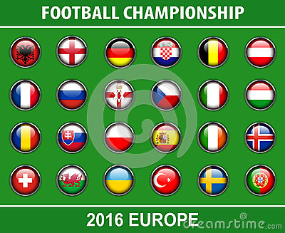 Flags buttons of football championship 2016