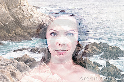 Double exposure of beautiful woman with beach