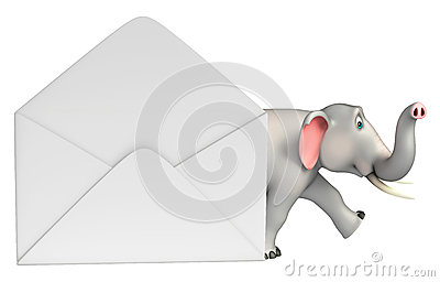 Fun  Elephant cartoon character with mail