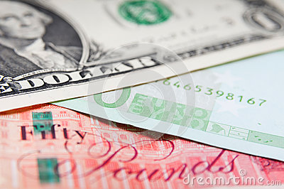 Pounds euros and dollars