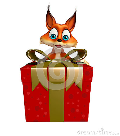 Cute Fox cartoon character with gift box