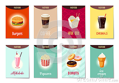 Set of AD-cards, banners, tags, package with cartoon fast food