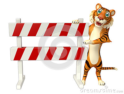 CuteTiger cartoon character with baracade