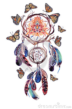 Watercolor ethnic dream catcher with all seeing eye in pyramid.