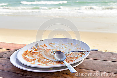 Dirty and empty dish with spoon and fork