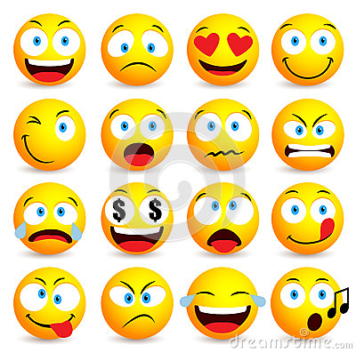 Smiley face and emoticon simple set with facial expressions