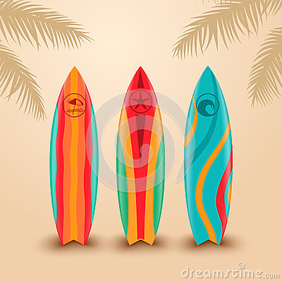 Surf boards with different design. Vector illustration