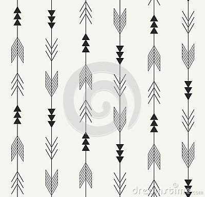 Vector seamless pattern. Arrows from traditional Mexican Aztec culture in trendy outlined style. Modern repeating background.