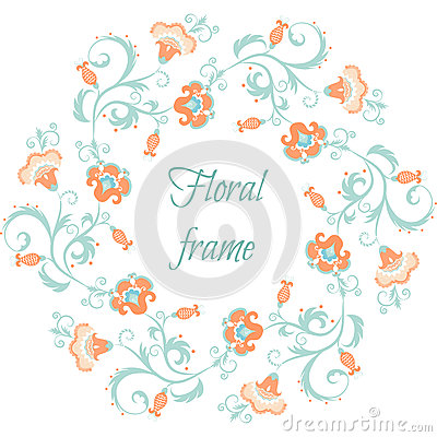 Floral garland. Flower border frame in pastel colors