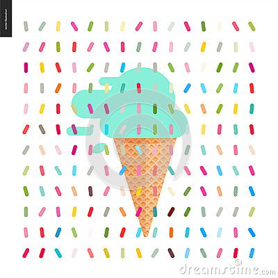 Mint Ice cream in a cone and pattern