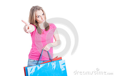 No more spending money concept with young shopaholic