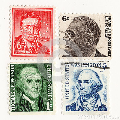 stock image of usa 1950 postage stamp presidents
