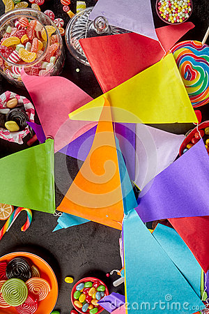 Background of string of colorful party flags