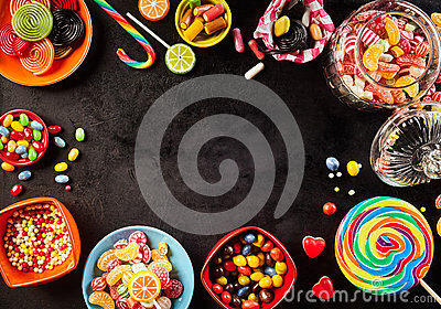 Frame or surround of colorful candy