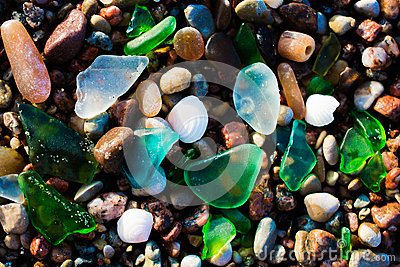 Glass beach. Natural texture with polished sea glass