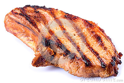 Grilled pork chop on white background. close-up