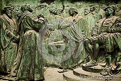 Berlin Cathedral, bronze bas-relief representing Martin Luther