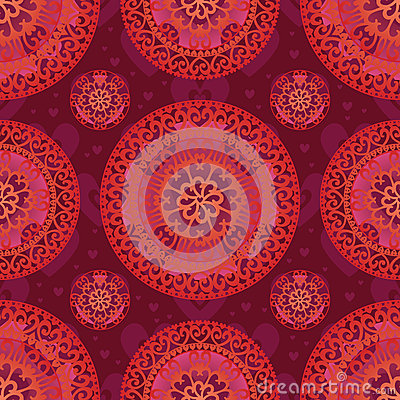 Love mandala seamless pattern