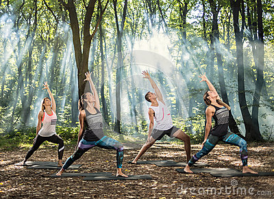 Young people perform stretching exercises in forest