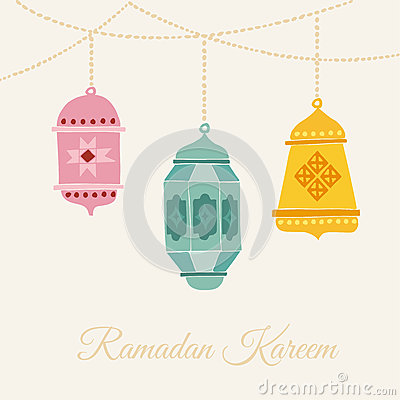 Hand drawn arabic lanterns. Card, invitation or muslim holy month Ramadan Kareem. Vector illustration background.