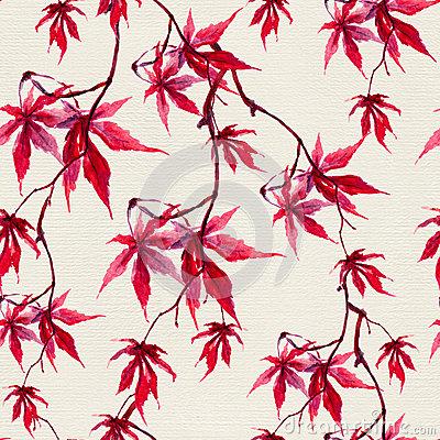 Autumn chinese red maple leaves. Seamless pattern. Watercolor