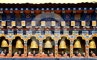 Bhutan Buddhism Prayer Wheels in temple