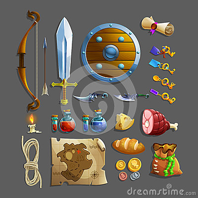 Set of items for game. Different food, weapon, potion and tools.