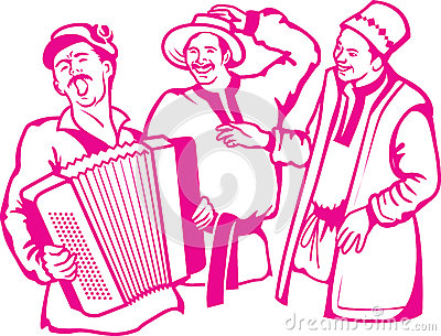 Retro scene accordion player with his friends have a rest, have