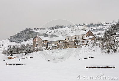 Gloomy haunted farm house barn winter mountain snow