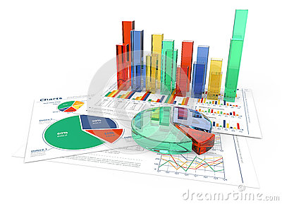 3D business charts in color