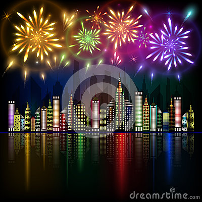 Colorful fireworks exploding in night sky over downtown city with reflection in water