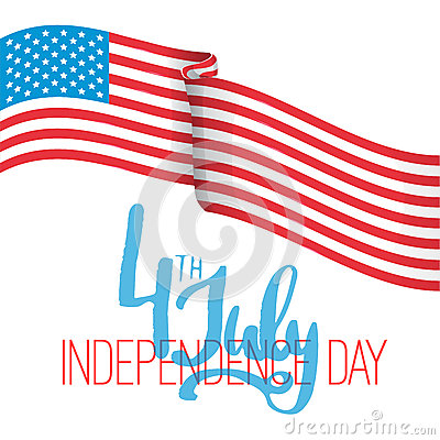 4th of july - Independence Day in United States of America greeting card. American national flag color illustration