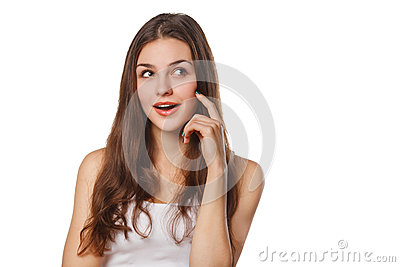 Young beautiful woman thinking looking to the side at blank copy space, isolated over white background
