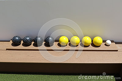 Bocce Balls in a rack