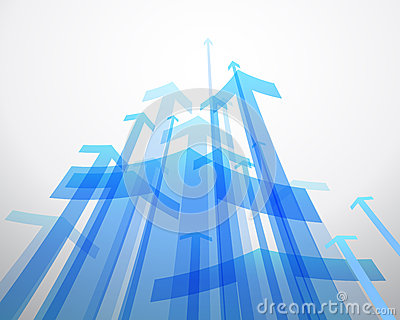 Abstract background with blue arrows.