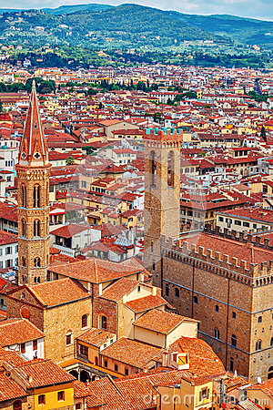 Tower of palazzo vecchio in florence top view