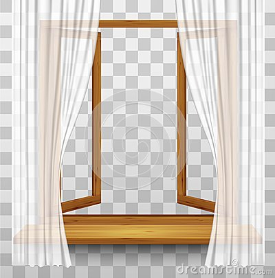 Wooden window frame with curtains on a transparent background.