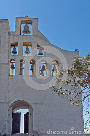 Entrance of Monastery Prophet Elias,  Santorini island, Thira, Greece